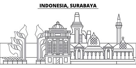 Indonesia, Surabaya line skyline vector illustration. Indonesia, Surabaya linear cityscape with famous landmarks, city sights, vector design landscape.