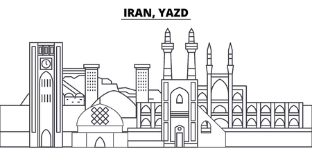 Iran, Yazd line skyline vector illustration. Iran, Yazd linear cityscape with famous landmarks, city sights, vector design landscape.