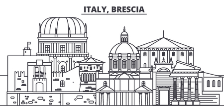 Italy, Brescia line skyline vector illustration. Italy, Brescia linear cityscape with famous landmarks, city sights, vector design landscape. Banque d'images - 102010608