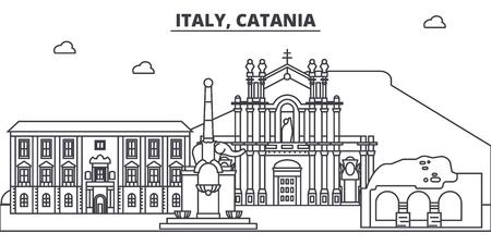 Italy, Catania line skyline vector illustration. Italy, Catania linear cityscape with famous landmarks, city sights, vector design landscape.