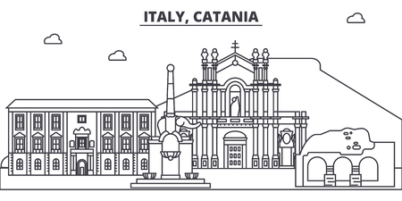 Italy, Catania line skyline vector illustration. Italy, Catania linear cityscape with famous landmarks, city sights, vector design landscape.