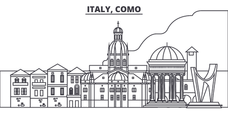 Italy, Como line skyline vector illustration. Italy, Como linear cityscape with famous landmarks, city sights, vector design landscape.