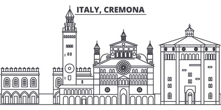 Italy, Cremona line skyline vector illustration. Italy, Cremona linear cityscape with famous landmarks, city sights, vector design landscape.