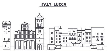 Italy, Lucca line skyline vector illustration. Italy, Lucca linear cityscape with famous landmarks, city sights, vector design landscape. Stock Vector - 102010613