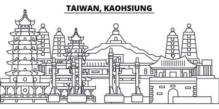Taiwan, Kaohsiung line skyline vector illustration. Taiwan, Kaohsiung linear cityscape with famous landmarks, city sights, vector design landscape.
