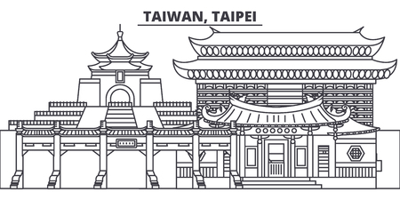 Taiwan, Taipei line skyline vector illustration. Taiwan, Taipei linear cityscape with famous landmarks, city sights, vector design landscape. Illusztráció