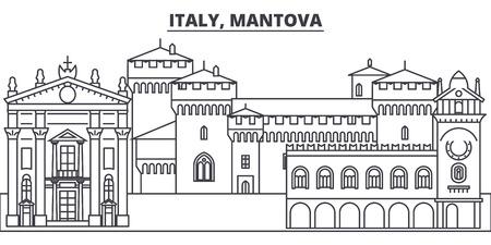 Italy, Mantova line skyline vector illustration. Italy, Mantova linear cityscape with famous landmarks, city sights, vector design landscape.