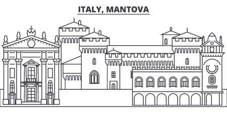 Italy, Mantova line skyline vector illustration. Italy, Mantova linear cityscape with famous landmarks, city sights, vector design landscape.