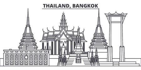 Thailand, Bangkok line skyline vector illustration. Thailand, Bangkok linear cityscape with famous landmarks, city sights, vector design landscape.