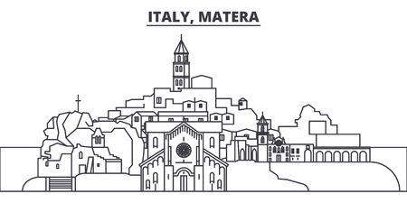 Italy, Matera line skyline vector illustration. Italy, Matera linear cityscape with famous landmarks, city sights, vector design landscape.