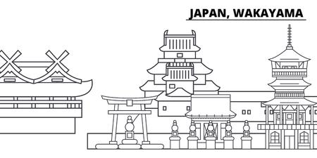 Japan, Wakayama line skyline vector illustration. Japan, Wakayama linear cityscape with famous landmarks, city sights, vector design landscape. Ilustrace