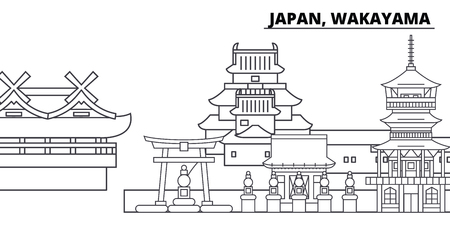 Japan, Wakayama line skyline vector illustration. Japan, Wakayama linear cityscape with famous landmarks, city sights, vector design landscape. Illustration