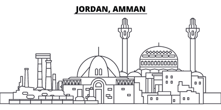 Jordan, Amman line skyline vector illustration. Jordan, Amman linear cityscape with famous landmarks, city sights, vector design landscape.