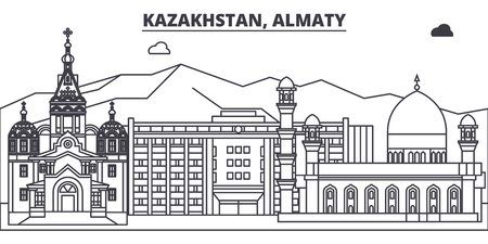Kazakhstan, Almaty line skyline vector illustration. Kazakhstan, Almaty linear cityscape with famous landmarks, city sights, vector design landscape.