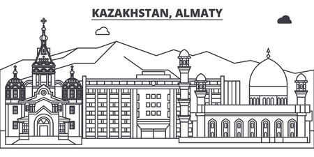 Kazakhstan, Almaty line skyline vector illustration. Kazakhstan, Almaty linear cityscape with famous landmarks, city sights, vector design landscape.
