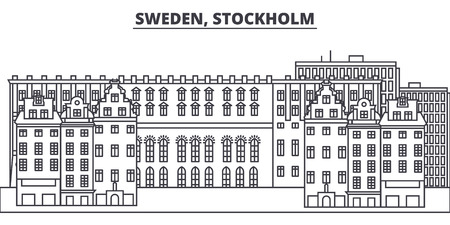 Sweden, Stockholm line skyline vector illustration. Sweden, Stockholm linear cityscape with famous landmarks, city sights, vector design landscape. Archivio Fotografico - 101996216