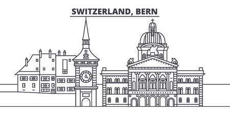 Switzerland, Bern line skyline vector illustration. Switzerland, Bern linear cityscape with famous landmarks, city sights, vector design landscape.