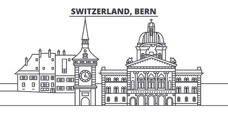 Switzerland, Bern line skyline vector illustration. Switzerland, Bern linear cityscape with famous landmarks, city sights, vector design landscape.