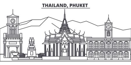 Tailandia, Phuket línea horizonte ilustración vectorial. Tailandia, paisaje urbano lineal de Phuket con monumentos famosos, lugares de interés de la ciudad, paisaje de diseño vectorial. Ilustración de vector