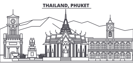 Thailand, Phuket line skyline vector illustration. Thailand, Phuket linear cityscape with famous landmarks, city sights, vector design landscape.