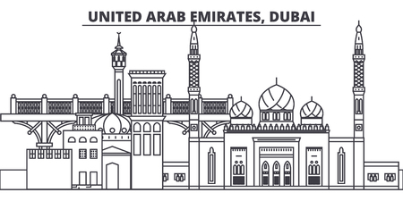 United Arab Emirates, Dubai line skyline vector illustration. United Arab Emirates, Dubai linear cityscape with famous landmarks, city sights, vector design landscape. 写真素材 - 101976255