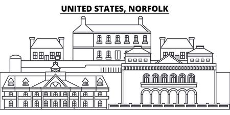 United States, Norfolk line skyline vector illustration. United States, Norfolk linear cityscape with famous landmarks, city sights, vector design landscape. Illustration