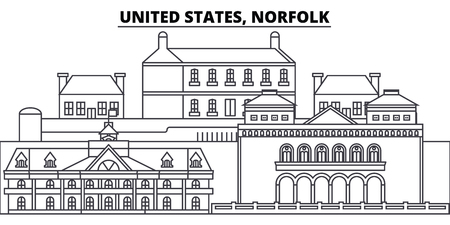 United States, Norfolk line skyline vector illustration. United States, Norfolk linear cityscape with famous landmarks, city sights, vector design landscape. Ilustrace