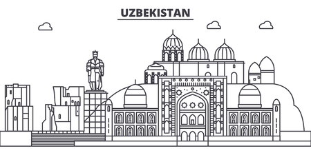 Uzbekistan line skyline vector illustration. Uzbekistan linear cityscape with famous landmarks, city sights, vector design landscape.  イラスト・ベクター素材
