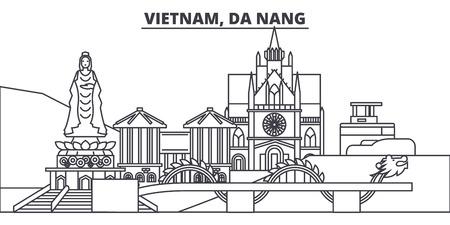 Vietnam, Da Nang línea horizonte ilustración vectorial. Vietnam, paisaje urbano lineal de Da Nang con monumentos famosos, lugares de interés de la ciudad, paisaje de diseño vectorial.