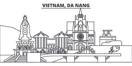 Vietnam, Da Nang line skyline vector illustration. Vietnam, Da Nang linear cityscape with famous landmarks, city sights, vector design landscape. Stock Illustratie