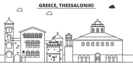 Greece, Thessaloniki line skyline vector illustration. Greece, Thessaloniki linear cityscape with famous landmarks, city sights, vector design landscape.