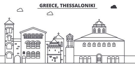 Greece, Thessaloniki line skyline vector illustration. Greece, Thessaloniki linear cityscape with famous landmarks, city sights, vector design landscape.