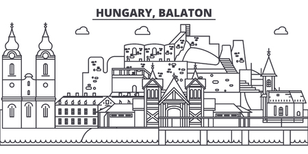 Hungary, Balaton line skyline vector illustration. Hungary, Balaton linear cityscape with famous landmarks, city sights, vector design landscape.