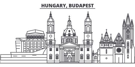 Hungary, Budapest line skyline vector illustration. Hungary, Budapest linear cityscape with famous landmarks, city sights, vector design landscape. Illustration