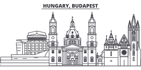 Hungary, Budapest line skyline vector illustration. Hungary, Budapest linear cityscape with famous landmarks, city sights, vector design landscape. Stock Illustratie