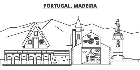 Portugal, Madeira line skyline vector illustration. Portugal, Madeira linear cityscape with famous landmarks, city sights, vector design landscape.