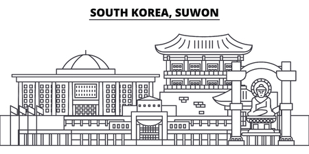 South Korea, Suwon line skyline vector illustration. South Korea, Suwon linear cityscape with famous landmarks, city sights, vector design landscape. Vectores