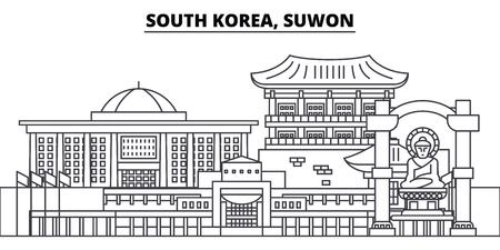 South Korea, Suwon line skyline vector illustration. South Korea, Suwon linear cityscape with famous landmarks, city sights, vector design landscape.  イラスト・ベクター素材
