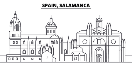 Spain, Salamanca line skyline vector illustration. Spain, Salamanca linear cityscape with famous landmarks, city sights, vector design landscape.
