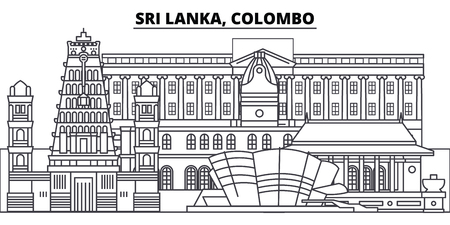 Sri Lanka, Colombo line skyline vector illustration. Sri Lanka, Colombo linear cityscape with famous landmarks, city sights, vector design landscape.