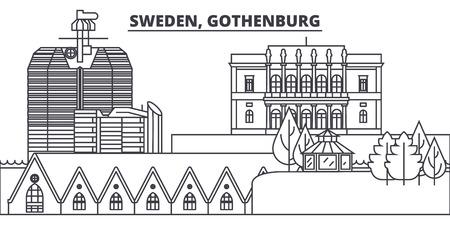 Sweden, Gothenburg line skyline vector illustration. Sweden, Gothenburg linear cityscape with famous landmarks, city sights, vector design landscape. Illustration