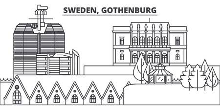 Sweden, Gothenburg line skyline vector illustration. Sweden, Gothenburg linear cityscape with famous landmarks, city sights, vector design landscape. Çizim