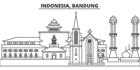 Indonesia, Bandung line skyline vector illustration. Indonesia, Bandung linear cityscape with famous landmarks, city sights, vector design landscape.