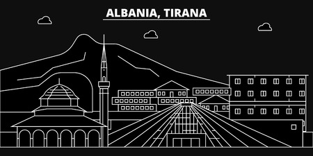 Tirana silhouette skyline. Albania - Tirana vector city, albanian linear architecture, buildings. Tirana line travel illustration, landmarks. Albania flat icon, albanian outline design banner Stock Illustratie