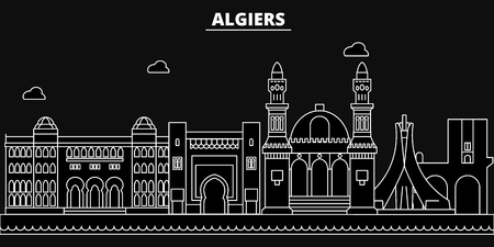 Algeria silhouette skyline. Algeria vector city, algerian linear architecture, buildingline travel illustration, landmarkflat icon, , algerian outline design banner Ilustração