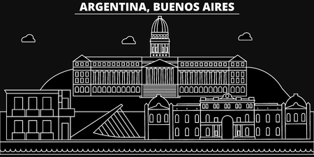 Buenos Aires silhouette skyline. Argentina - Buenos Aires vector city, argentinian linear architecture, buildings. Buenos Aires travel illustration, outline landmarks. Argentina flat icon, argentinian