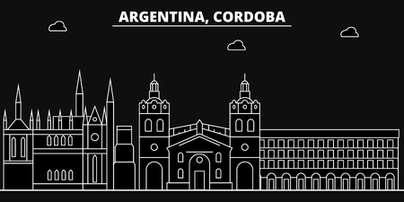 Cordoba silhouette, skyline. Argentina - Cordoba vector city, argentinian linear architecture, buildings. Cordoba line travel illustration, landmarks. Argentina flat icon, argentinian outline design Illustration