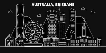 Brisbane silhouette skyline. Australia - Brisbane vector city, australian linear architecture, buildings. Brisbane line travel illustration, landmarks. Australia flat icon, australian outline design banner