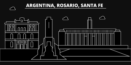 Rosario, Santa Fe, silhouette, skyline. Argentina - Rosario, Santa Fe, vector city, argentinian linear architecture, buildings Rosario Santa Fe line travel illustration landmarks