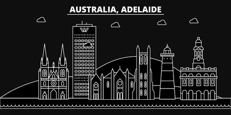 Adelaide silhouette skyline. Australia - Adelaide vector city, australian linear architecture, buildings. Adelaide line travel illustration, landmarks. Australia flat icon, australian outline design banner